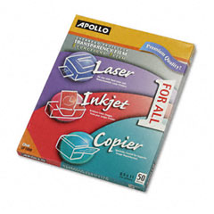Apollo - multipurpose transparency film, letter, clear, 50/box, sold as 1 bx