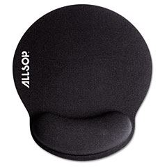 Allsop - memory foam mouse pad with wrist rest, black, 7 1/4-inch x 8 1/4-inch, sold as 1 ea