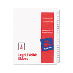 Avery - allstate-style legal side tab dividers, 25-tab, 101-125, letter, white, 25/set, sold as 1 st