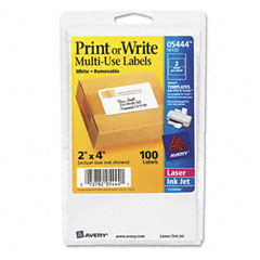 Avery - print or write removable multi-use labels, 2 x 4, white, 100/pack, sold as 1 pk
