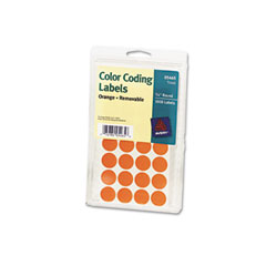 Avery 05465 Print Or Write Removable Color-Coding Labels, 3/4In Dia, Orange, 1008/Pack