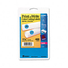 Avery 05496 Print Or Write Removable Color-Coding Labels, 1-1/4In Dia, Light Blue, 400/Pack