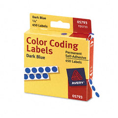 Avery 05793 Permanent Self-Adhesive Color-Coding Labels, 1/4In Dia, Dark Blue, 450/Pack
