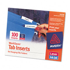 Avery - printable inserts for hanging file folders, 1/5 tab, two inch, white, 100/pack, sold as 1 pk