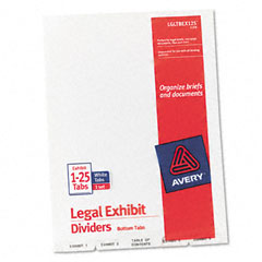 Avery - avery-style legal bottom tab divider, title: exhibit 1-25, letter, white, sold as 1 st