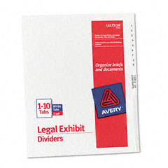 Avery - avery-style legal side tab divider, title: 1-10, letter, white, 1 set, sold as 1 st