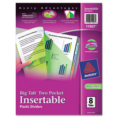 Avery - worksaver big tab plastic dividers, two slash pockets, 8-tab, assorted, sold as 1 st