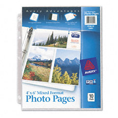 Avery - photo pages for six 4 x 6 mixed format photos, 3-hole punched, 10/pack, sold as 1 pk