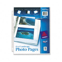 Avery - photo pages for four 4 x 6 horizontal photos, 3-hole punched, 10/pack, sold as 1 pk