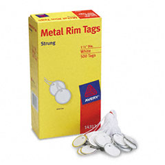 Avery - metal rim marking tags, metal/paper, 1-1/4 diameter, white, 500/box, sold as 1 bx