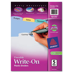 Avery - translucent multicolor write-on dividers, 5-tab, letter, 1 set, sold as 1 st