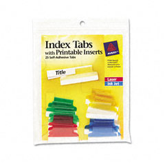 Avery - self-adhesive tabs with white printable inserts, 1 inch, assorted tab, 25/pack, sold as 1 pk