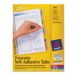 Avery - printable repositionable plastic tabs, 1 1/4 inch, assorted, 96/pack, sold as 1 pk