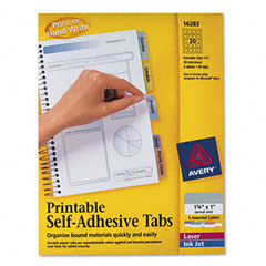Avery - printable repositionable plastic tabs, 1 3/4 inch, assorted, 80/pack, sold as 1 pk