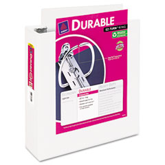 Avery - durable vinyl ez-turn ring view binder, 11 x 8-1/2, 3-inch capacity, white, sold as 1 ea