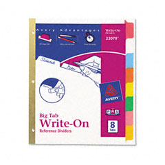 Avery - big tab write-on dividers w/erasable laminated tabs, clear, set of 8, sold as 1 st