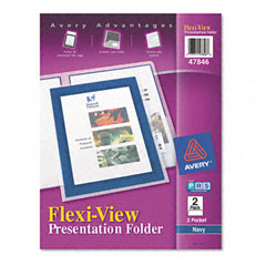 Avery - flexi-view two-pocket polypropylene folders, navy/translucent, 2/pack, sold as 1 pk