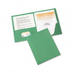 Avery - paper two-pocket report cover, tang clip, letter, 1/2-inch capacity, green, 25/box, sold as 1 bx
