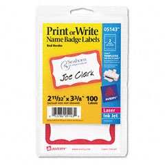 Avery - print/write self-adhesive name badges, 2-11/32 x 3-3/8, red, 100/pack, sold as 1 pk