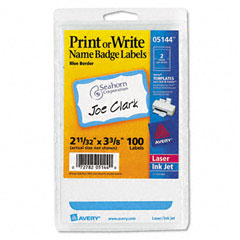 Avery - print/write self-adhesive name badges, 2-11/32 x 3-3/8, blue, 100/pack, sold as 1 pk