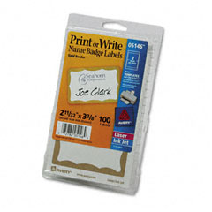Avery - print/write self-adhesive name badges, 2-11/32 x 3-3/8, gold, 100/pack, sold as 1 pk