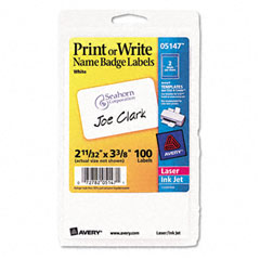 Avery - print/write self-adhesive name badges, 2-11/32 x 3-3/8, white, 100/pack, sold as 1 pk