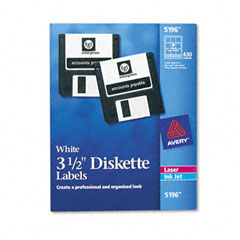 Avery - laser/inkjet 3.5in diskette labels, white, 630/box, sold as 1 bx