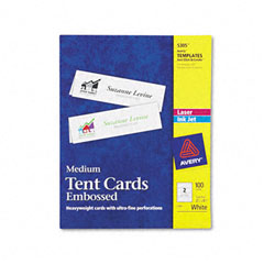 Avery - tent cards, white, 2-1/2 x 8-1/2, 2 cards/sheet, 100 cards/box, sold as 1 bx