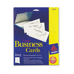 Avery Laser Business Cards, 2 x 3 1/2, Ivory, 10 Cards/Sheet, 250/Pack