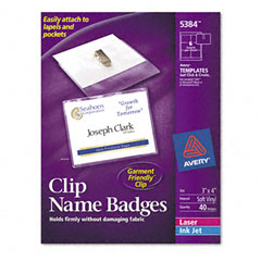 Avery - badge holders w/laser/inkjet inserts, top load, 3 x 4, white, 40/box, sold as 1 bx