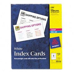 Avery - laser/inkjet unruled index cards, 3 x 5, white, 150/box, sold as 1 bx