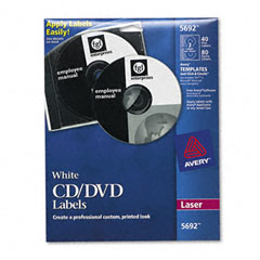 Avery - laser cd/dvd labels, matte white, 40/pack, sold as 1 pk