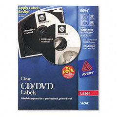 Avery - laser cd/dvd labels, glossy clear, 40/pack, sold as 1 pk