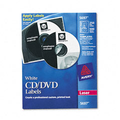 Avery - laser cd/dvd labels, matte white, 250/pack, sold as 1 pk