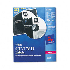 Avery - laser cd/dvd labels, matte white, 100/pack, sold as 1 pk