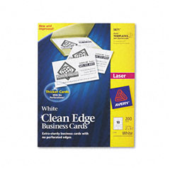 Avery - clean edge laser business cards, 2 x 3 1/2, white, 10/sheet, 200/pack, sold as 1 pk