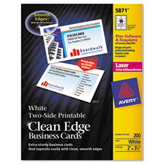 Avery - two-side clean edge laser business cards, 2 x 3 1/2, white, 1000/pack, sold as 1 bx