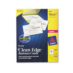 Avery - clean edge laser business cards, 2 x 3 1/2, ivory, 10/sheet, 200/pack, sold as 1 pk