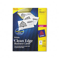 Avery - clean edge laser business cards, 2 x 3 1/2, white, 10/sheet, 400/box, sold as 1 bx