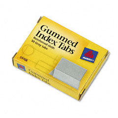 Avery - gummed index tabs, 1 x 13/16, gray, 50/pack, sold as 1 pk