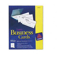 Avery - laser business cards, 2 x 3 1/2, white, 10 cards/sheet, 2500/box, sold as 1 bx