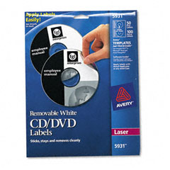 Avery - laser cd/dvd labels, matte white, 50/pack, sold as 1 pk