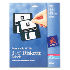 Avery - laser/inkjet 3.5in diskette labels, white, 375/pack, sold as 1 pk