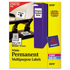 Avery - permanent id laser labels, 1-1/4 x 1-3/4, white, 480/pack, sold as 1 pk