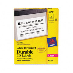Avery 6579 Permanent Id Laser Labels, 5 X 8-1/8, White, 100/Pack