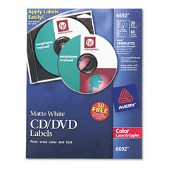 Avery - laser cd/dvd labels, matte white, 30/pack, sold as 1 pk