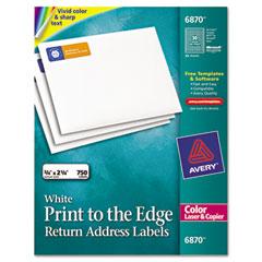 Avery 6870 Return Address Labels For Color Laser & Copier, 3/4 X 2-1/4, Matte White, 750/Pk