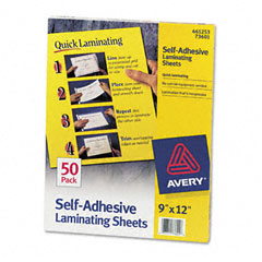 Avery - clear self-adhesive laminating sheets, 3 mil, 9 x 12, 50/box, sold as 1 bx
