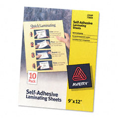Avery - clear self-adhesive laminating sheets, 3 mil, 9 x 12, 10/pack, sold as 1 pk