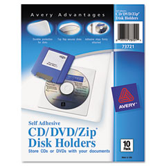 Avery - self-adhesive cd/dvd/zip disk pockets, 10/pack, sold as 1 pk